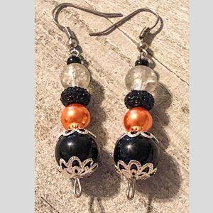 Orange & Black Bead Dangle Earrings